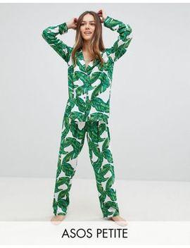 Asos Design Petite Banana Leaf 100 Percents Modal Traditional Shirt & Pants Pajama Set by Asos Design