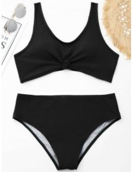 Knotted Ribbed Plus Size Bikini   Black 2xl by Zaful
