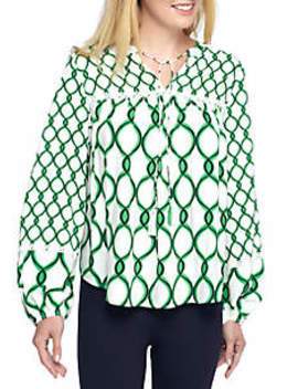 Long Sleeve Woven Peasant Top by Crown & Ivy™
