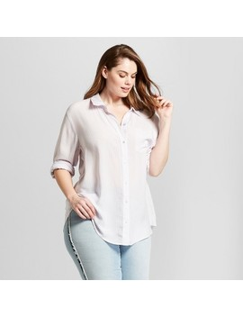 Women's Plus Size Long Sleeve Striped Button Down Shirt    Universal Thread™ by Universal Thread™