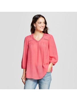 Women's 3/4 Sleeve Eyelet Peasant Blouse   John Paul Richard   Coral by John Paul Richard