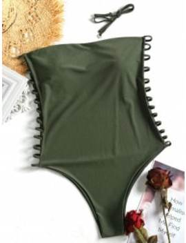 Cami Ladder Cut Out Plus Size Swimsuit   Army Green 2xl by Zaful