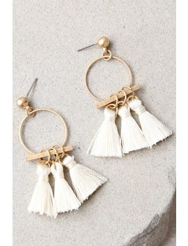 Totally Tantalizing Cream And Gold Tassel Earrings by Lulus