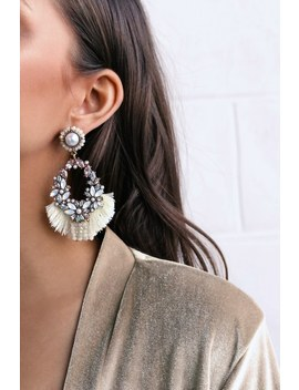 Jana Gold And Iridescent Rhinestone Tassel Earrings by Lulus