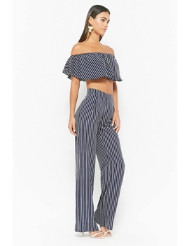 Stripe Off The Shoulder Crop Top & Pants Set by F21 Contemporary