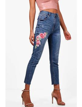 Wendy Raw Hem Floral Embroidered Skinny Jeans by Boohoo