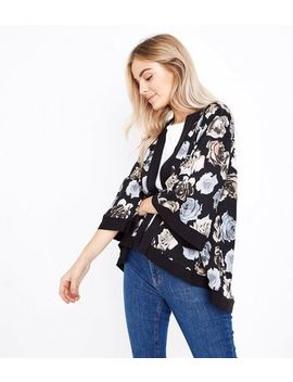 Mela Black Floral Print Kimono by New Look