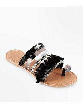 Black Leather Embellished Tassel Strap Sandals by New Look