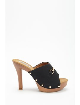Faux Suede Platform Clog Mules by Forever 21