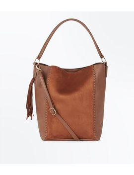 Tan Whipstitch Tassel Side Tote Bag by New Look