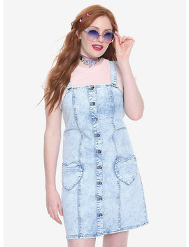Blackheart Heart Pocket Acid Wash Overall Dress by Hot Topic