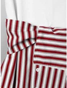 Striped Tie Belt Curved Hem Tee Dress   Red Xl by Zaful