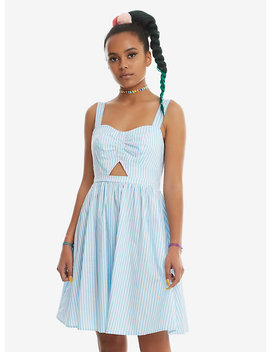 Blue &Amp; White Striped Cut Out Fit &Amp; Flare Dress by Hot Topic