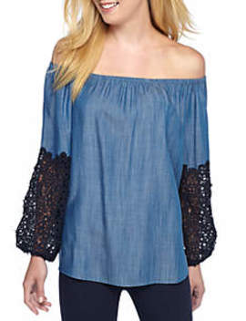 Crochet Sleeve Off The Shoulder Top by Crown & Ivy™