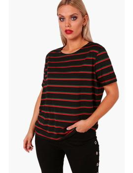 Plus Jill Stripe Roll Up Sleeve T Shirt by Boohoo