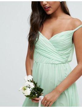 Asos Wedding Ruched Bardot Strap Maxi Dress by Asos Collection