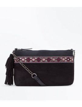 Black Aztec Trim Cross Body Bag by New Look