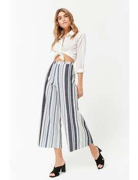 Striped Linen Blend Capri Pants by Forever 21