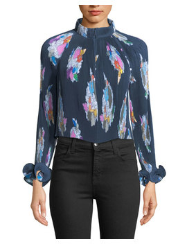Camellia Pleated Floral Print Top by Tibi