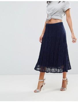 Liquorish Pleated Lace Midi Skirt by Liquorish