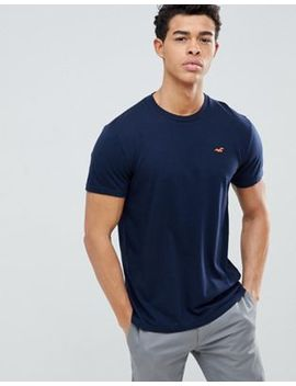 Hollister Crew Neck T Shirt With Seagull Logo In Navy by Hollister