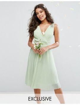 Tfnc Wedding Pleated Midi Dress With Embellished Shoulder by Tfnc