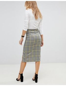 Asos Pencil Skirt With Thigh Split In Check by Asos Collection