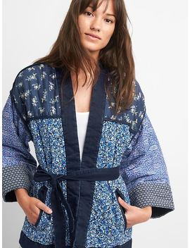 Quilted Mix Print Kimono Jacket by Gap