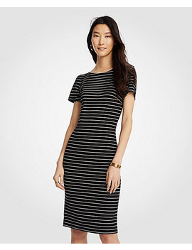 Stripe Puff Sleeve Ponte Sheath Dress by Ann Taylor
