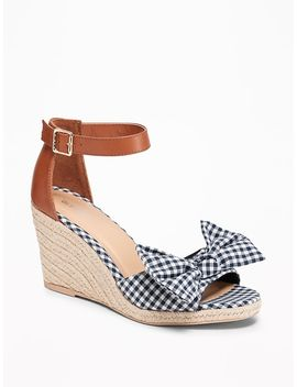 Gingham Bow Tie Espadrille Wedges For Women by Old Navy