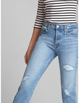 High Rise Crop Flare Jeans With Distressed Detail by Gap