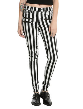 Blackheart Black &Amp; White Striped Zippered Stingerette Jeans by Hot Topic