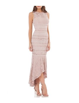 Lace Piped High Low Gown by Js Collections