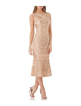 Metallic Soutache Midi Dress by Js Collections