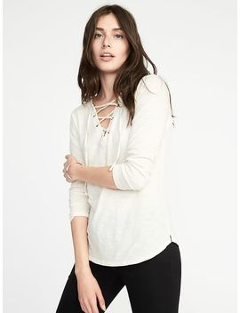 Relaxed Lace Up Mariner Knit Top For Women by Old Navy