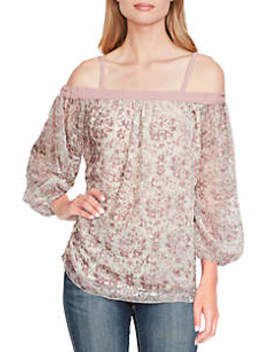 Trisha Printed Cold Shoulder Woven Top by Jessica Simpson