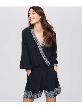 Petite Embroidered Wrap Romper by Loft