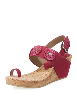 Gilly Floral Cork Wedge Sparkle Suede Sandal by Donald J Pliner
