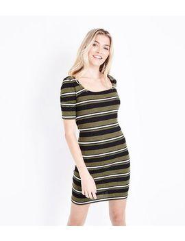 Khaki Stripe Square Neck Ribbed Bodycon Dress by New Look