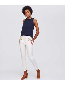 Floral Embroidered Riviera Pants In Marisa Fit by Loft