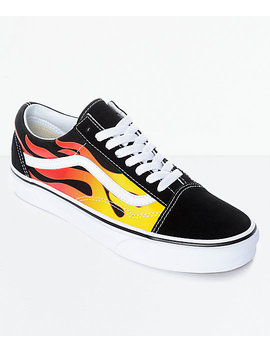 Vans Old Skool Flame Black & White Skate Shoes by Vans
