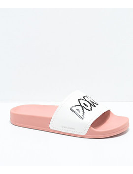 Volcom Womens Don't Trip Mellow Rose & White Slide Sandals by Volcom