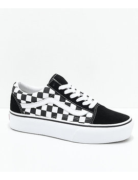 Vans Old Skool Black & White Checkered Platform Skate Shoes by Vans