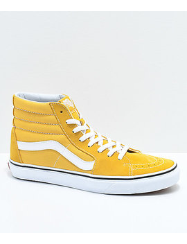 Vans Sk8 Hi Ochre & White Skate Shoes by Vans