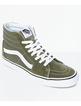 Vans Sk8 Hi Winter Moss Green & White Skate Shoes by Vans