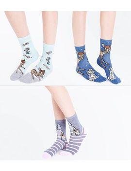 3 Pack Multi Coloured Bambi Disney Socks by New Look