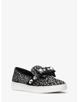 Val Studded Leopard Calf Hair Slip On Sneaker by Michael Kors Collection