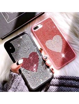 For I Phone X 8 7 6s Plus Girl'S Cute Bling Diamonds Love Heart Phone Case Skin by Unbranded/Generic