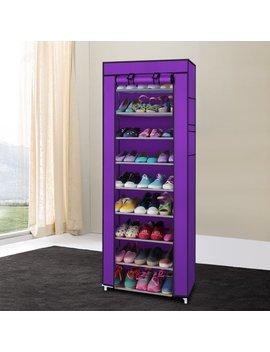 Ktaxon 10 Layer 9 Grid Shoe Rack Shelf Storage Closet Boot Organizer Cabinet Portable,Multi Color by Ktaxon