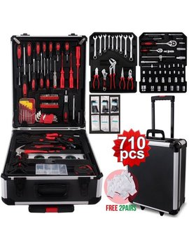 Uenjoy 710 Pc Tool Set Standard Metric Mechanics Kit Case Box Organize Castors Trolley by Uenjoy
